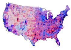 America really looks like this - voting - (by Chris Howard) - I created a map using a blended voting map based on the actual numbers of votes for each party overlaid with population maps from Texas Tech & other sources. Here's the result—what the US political voting distribution really looks like - so many of those vast red mid-west blocks fade into pale pink and lavender (very low population).  (thanks Kevin Maness!)