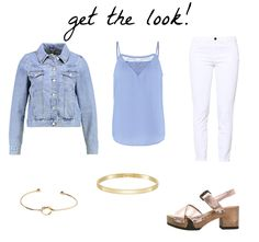 Light blue top+white pants+gold ankle strap heeled sandals+denim jacket+gold jewelery. Summer outfit 2016
