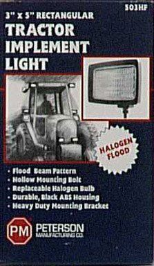 Peterson Manufacturing Halogen Flood Light - 3in. x 5in. Size by Peterson Manufacturing. Save 25 Off!. $16.48. This Peterson Manufacturing halogen flood light features a powerful flood beam that pierces the night! Light Type: Flood, Light Size (in.): 3 x 5, Light Shape: Rectangle, Light Color: White, Volts: 12, Watts: 55, Housing Material: Polycarbonate, Mount Type: Stud, Bulbs Per Light (qty.): 1, Lights Included (qty.): 1, Mounting Hardware Included: Yes, Dimensions L x W x ...