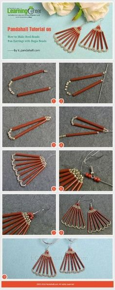 Pandahall Tutorial on How to Make Seed Beads Fan Earrings with Bugle Beads from LC.Pandahall.com | Jewelry Making Tutorials & Tips 2 | Pinterest by Jersica