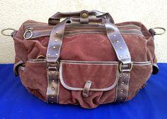 Skyway Luggage Brown Duffel Travel Shoulder Bag Faux-Leather Brass 17 x 11 x 9 #SkywayLuggageCompany #DuffleGymBag