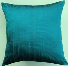 Turquoise Pillow Cover -- Turquoise Throw Pillow Cover -- Aquamarine Silk Cushion Cover -- 16 x 16. $16.99, via Etsy.