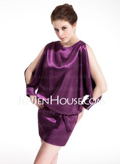 Cocktail Dresses - $133.99 - Sheath Scoop Neck Short/Mini Charmeuse Cocktail Dress With Ruffle (016008745) http://jenjenhouse.com/Sheath-Scoop-Neck-Short-Mini-Charmeuse-Cocktail-Dress-With-Ruffle-016008745-g8745