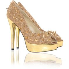 'TYRA' BRONZE CRYSTAL SPIKED SATIN PEEP TOE GOLD SOLE HEELS ($200) ❤ liked on Polyvore featuring shoes, pumps, heels, peep-toe pumps, peeptoe pumps, crystal pumps, gold heel pumps and high heel pumps