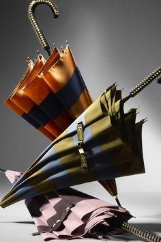 Studded Handle Striped Walking Umbrella Burberry