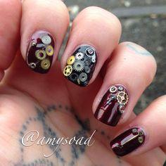 Steampunk Tendencies | Nails inspired by steampunk ~ Amy Tucker https://www.facebook.com/groups/steampunktendencies/permalink/637419752979131