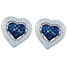 0.40ctw Blue Diamond Heart Earrings 10K White Gold (€335) ❤ liked on Polyvore featuring jewelry, earrings, blue earrings, heart jewelry, blue jewelry, diamond heart earrings and white gold jewelry