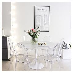 Unique Ideas About Ghost Chairs Dining Room Guide - targetinspira Ghost Chairs Dining, Acrylic Dining Chairs, Acrylic Chair, White Dining Table, Acrylic Furniture, Dining Nook, Dining Room Design, Dining Room Chairs, Furniture Deals