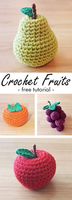 Learn how to crochet fruits – pear, persimmon, grapes and an apple. See other ideas and pictures from the category menu…. Faneks healthy and active life ideas Crochet Apple, Crochet Fruit, Crochet Food, Free Crochet, Knit Crochet, Crochet Things, Crochet Patterns Amigurumi, Knitting Patterns, Food Patterns
