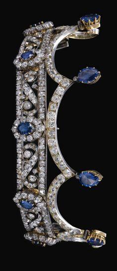 SAPPHIRE AND DIAMOND TIARA, LATE 19TH CENTURY