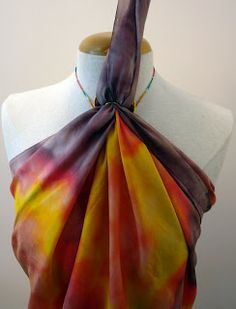 Dakini's Vintage Scarves: How to Turn a Silk Scarf into a Halter Top Blouse