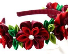 Kanzashi Fabric Flower headband. Red and white. by JuLVa on Etsy
