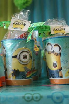 Minion party cup favors filled with candy