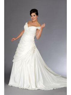 A Line Off The Shoulder Court Train Plus Size Wedding Dresses