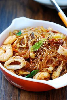 Spicy Seafood Japchae // gochugaru, squid, shrimp, shiitakes, enoki Korean sweet potato starch noodles made with seafood and a spicy kick! Seafood Appetizers, Seafood Recipes, Cooking Recipes, Squid Recipes, Seafood Soup, Japchae, Sweet Potato Stir Fry, Asian Recipes, Healthy Recipes