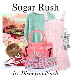 Sugar Rush by disneyandsuch on Polyvore featuring Chicwish, Versace, Vans, Furla, Rembrandt Charms, Betsey Johnson, RALPH, disney, disneybound and WreckItRalph //