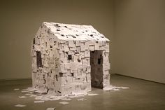 House of Thoughts - Peter Callesen (Paperinstallation. Acid free white cardboard, paper, glue and aprox. 1000 sheets of paper) Peter Callesen, Paper Installation, Light Installation, Art Installations, Paper Engineering, Paper Artist, Little Houses, Small Houses, Conceptual Art