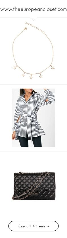"""""""www.theeuropeancloset.com"""" by theeuropeancloset on Polyvore featuring tops, blouses, slit shirt, shirt blouse, stripe top, stripe shirt, striped top, bags, handbags and shoulder bags"""