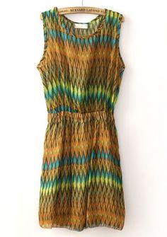 Yellow Sleeveless Bandeau Zigzag Chiffon Dress #SheInside