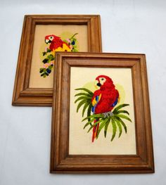 Vintage Parrot Crewel Pictures, Lot of Two Framed Pictures, Tropical Theme, 1980s by UpswingVintage on Etsy