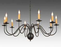 The Federalist Designs -17-Metal Chippendale style ten light chandelier. Shown in standard black paint finish.