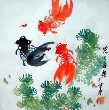 Oriental Asian Chinese Painting Feng Shui Art-Three Happy Goldfish&Flowers c33