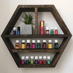 Essential Oil Shelf  Hexagon Wall Shelf  Honeycomb Shelf