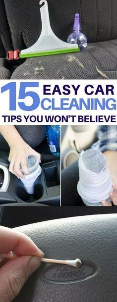15 Car Cleaning Tips & Tricks to Transform Your Dirty Car Genius car cleaning hacks I must try on my dirty car! How to clean headlights, tires, get rid of bumper stickers and more amazing car cleaning tips & tricks using things I already have! Car Cleaning Hacks, Deep Cleaning Tips, Car Hacks, Toilet Cleaning, House Cleaning Tips, Diy Cleaning Products, Cleaning Solutions, Hacks Diy, Cleaning Car Seats