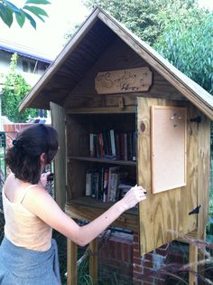 Neighborhood Shared Library Box Idea - We have one on my street just down the road from me. Little Free Libraries, Little Library, Free Library, Cat Reading, Reading Time, Wilmington Ohio, Light Em Up, Community Library, House Gifts