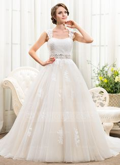 1598259579ae Ball-Gown Sweetheart Chapel Train Beading Appliques Lace Sequins Zipper Up  Covered Button Cap Straps Sleeveless Church General Plus No Winter Spring  Summer ...