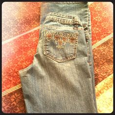 SUPER COMFY!!! Lei size 5 jeans! These have lots of stretch so they are super comfy! Love them but they are once again too long for this 5' lady. Lei Jeans