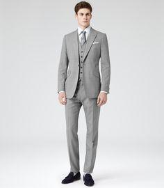 Reiss - Gray Garda Peak Lapel Three Piece Suit for Men - Lyst 40338fbee261