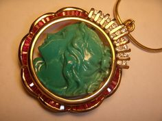 18K Yellow Gold Ruby Diamond Turquoise Carved Cameo Pendant