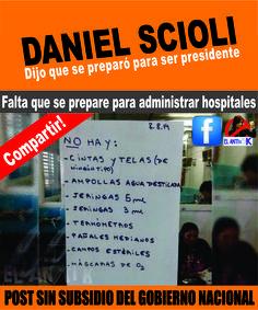 Daniel #Scioli dijo que se preparó para ser presidente. Ahora falta que se prepare para administrar hospitales.