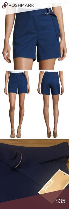 Michael Kors Ring Belted Shorts Michael Kors stretch-knit shorts with d-ring belt. New With Tags.  Blue Michael Kors Shorts