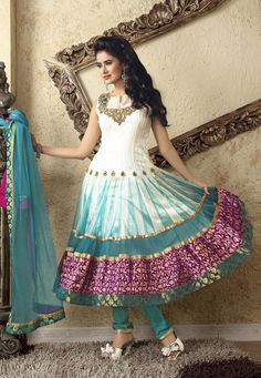 Light Cream Net #Churidar Kameez Online Shopping: SLKDU210