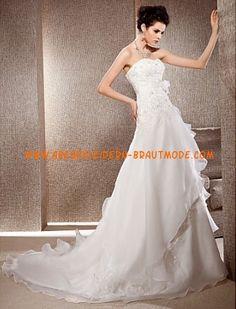 Wunderschöne trägerlose A-linie gestupfte Brautkleider aus Organza mit Applikation