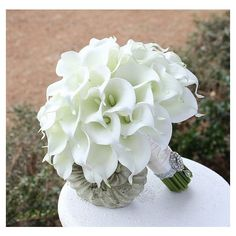 Cally Lily Bouquet. Elegant White Wedding Bridal Bouquet Real Touch Mini Calla Lillies | A wedding ideas | Pinterest found on Polyvore featuring polyvore