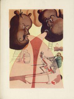 Albert Dubout Don Quixote attacking the wineskins L'Ingénieux Hidalgo Don Quichotte de la Manche (1951-Paris-Valois)