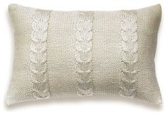 Decorative Cable Knit Pillow Cover In Ivory 12x18 inch Lumbar ...