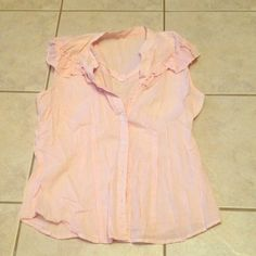 Pink & White Striped Button Down Tank Originally from Target. Tags were removed because they were really irritating. Size S. Minimal wear. Target Tops Button Down Shirts