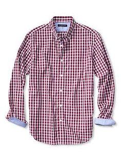 Slim-Fit Soft-Wash Border Gingham Shirt