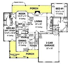 First Floor Plan of Country   Farmhouse  House Plan 68560