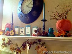 Posed Perfection: Orange and Turquoise Fall Mantel