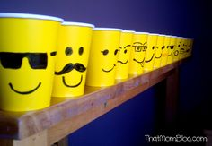Hand-drawn LEGO party cups