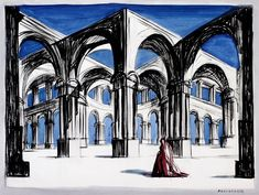 Andre Delfau (1914-2000), Stage Design (Andromaque) Gouache, watercolor and ink on paper | Richard Norton Gallery