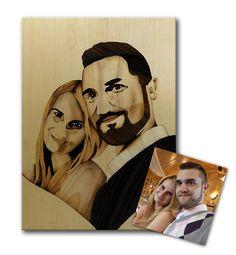ORIGINAL Custom wedding portrait of wood marquetry unique gift