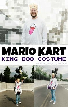 Mario Kart King Boo Costume Halloween Costumes To Make, Halloween Porch, Family Halloween Costumes, Halloween Boo, Girl Costumes, Costume Ideas, Boo Costume, Mario Costume, King Boo