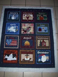 Months of the Year Applique Quilt - I made this a few years ago as a little monthly wall hanging, hangs in my back hallway!!!!!  Love them.