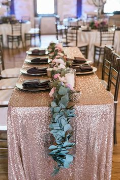 A Wedding Planners Rustic, Romantic Texas Wedding, Tables with Long Eucalyptus Runners | Brides.com